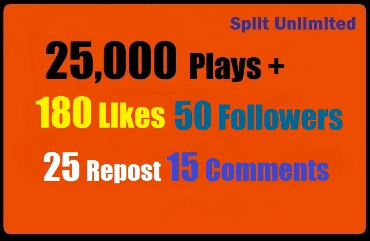 25,000 SoundCloud Plays 180 Likes 50 Followes 15 Comments 25 Repost