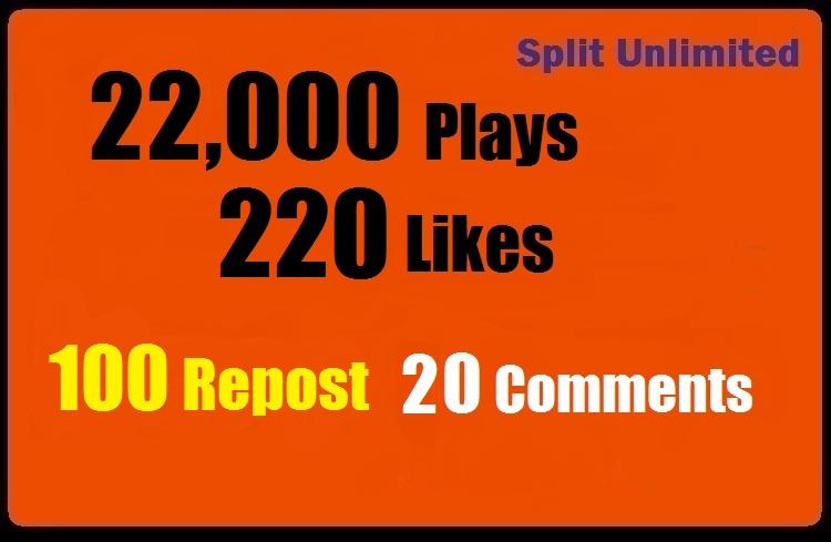 22,000 SoundCloud Plays 220 Likes 100 Repost 20 Comments