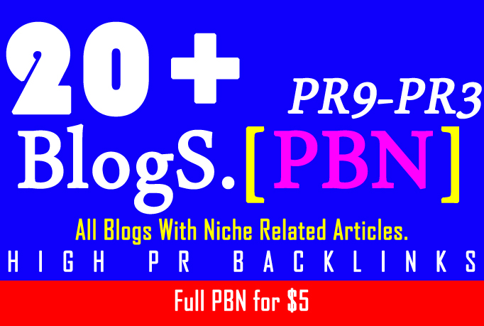 PBN Create 20+ Blog Network with niche related articles and Indexing