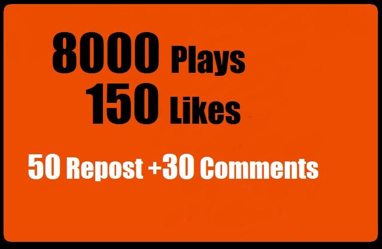 8000 SoundCloud Plays 150 Likes 50 repost 30 comments