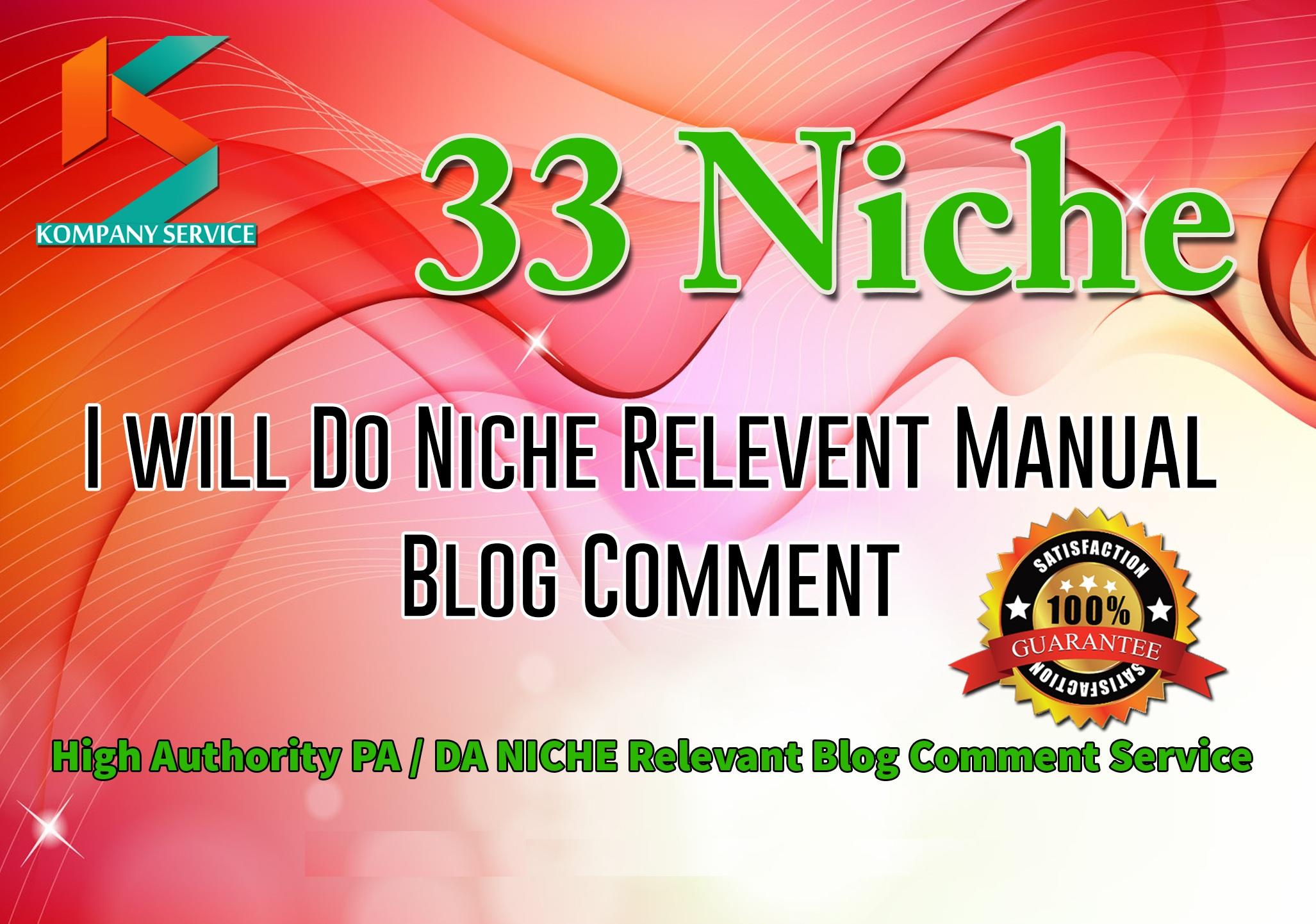 Provide 33 Niche Relevant Blog comment Backlinks