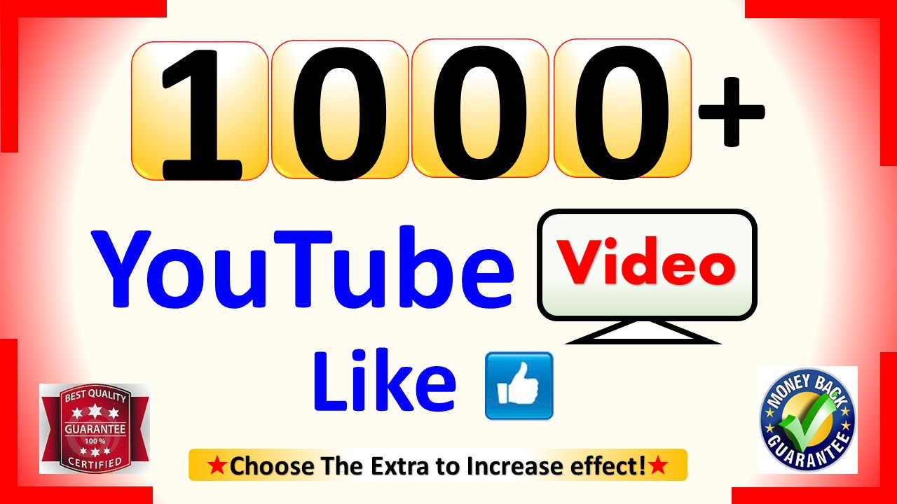 Instant Add 1000+ Organic Video Likes in 1 to 3 Hours, Real Active and non drop Guaranteed