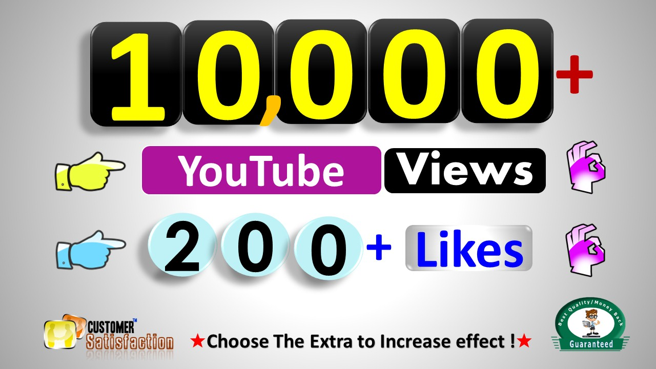 Instant Start 10,000+ Video Views & 200+ Video Likes,  HR Video Quality Non Drop Guaranteed