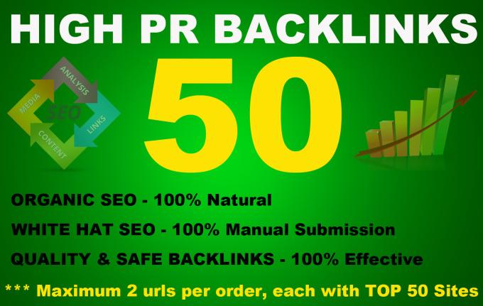 50 High PR Backlinks from PR9 to PR3,  Seo Online Marketing