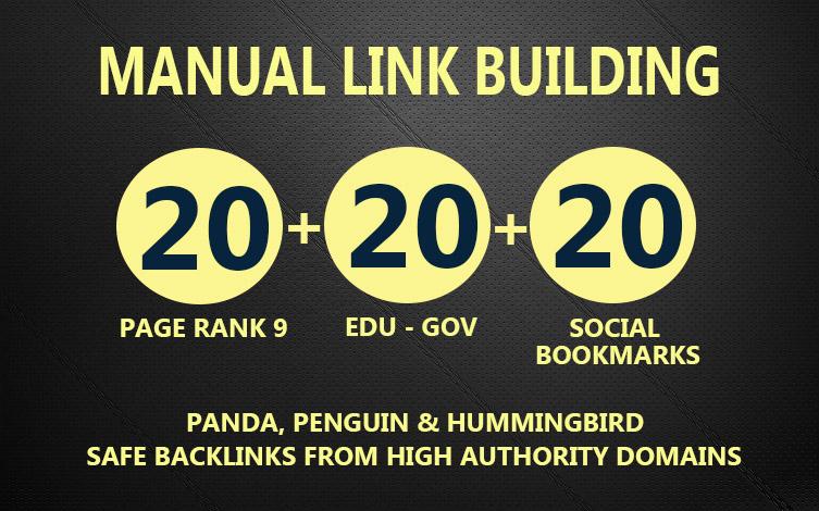 20 PR9 + 20 EDU- GOV + 20 SOCIAL BOOKMARKS Powerful Manual Backlinks