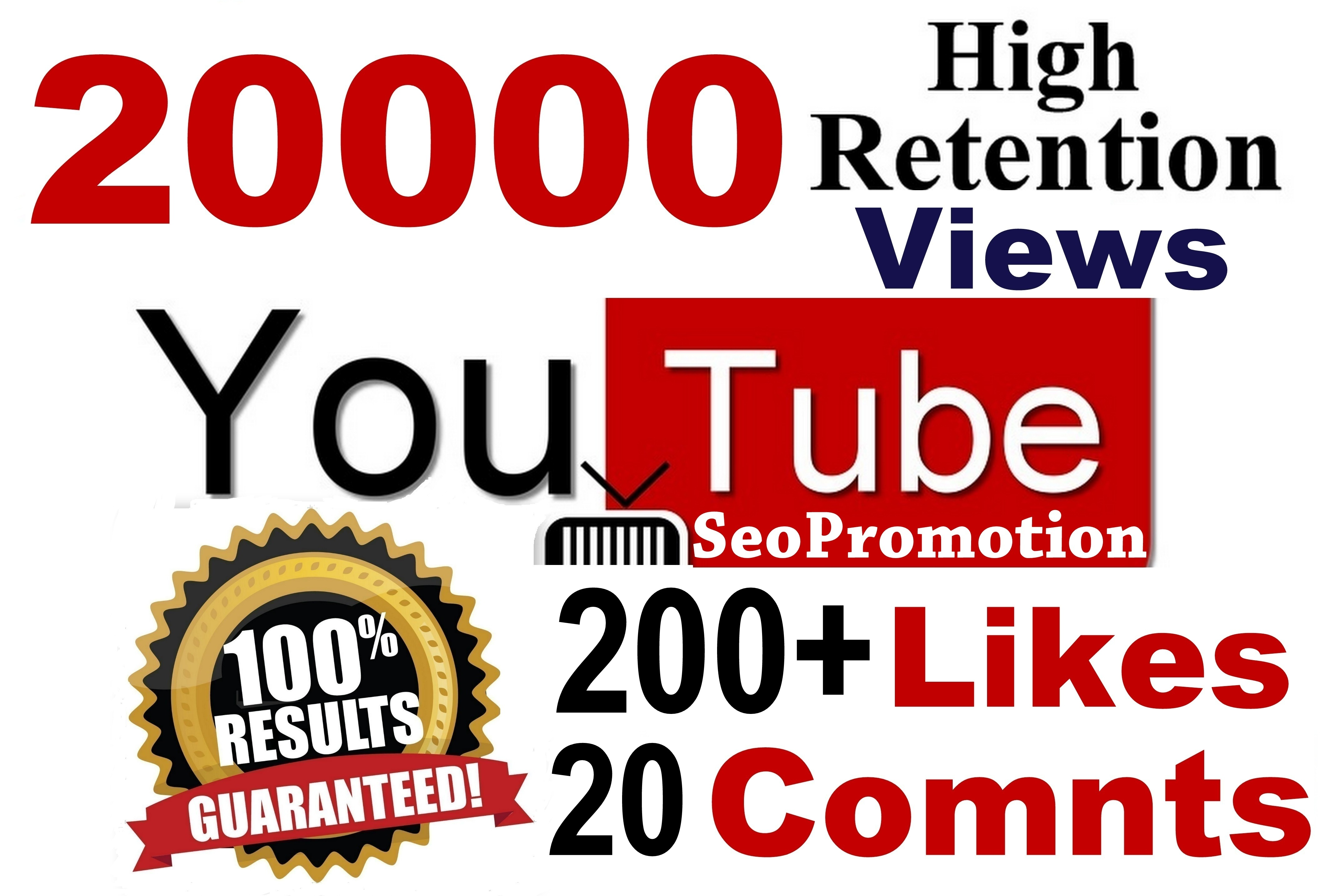 20000+ views & 200+ Likes Seo Optimizied You'tube video Promotion