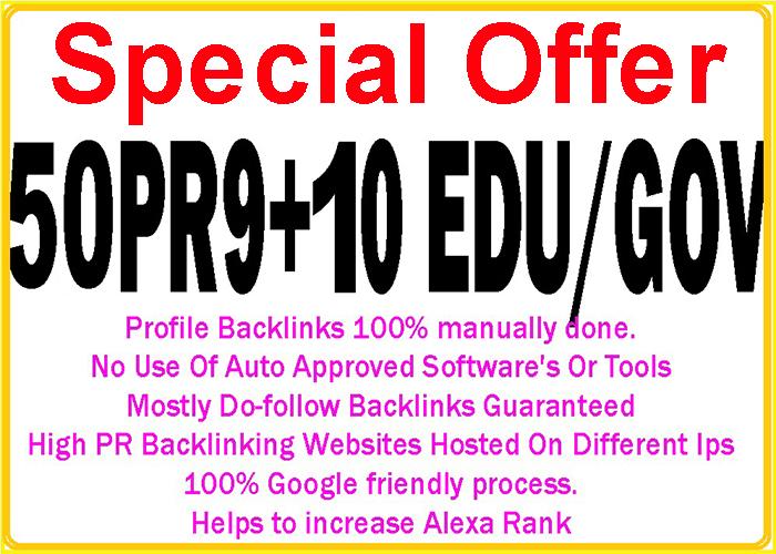 Handmake 50 Pr9 + 10 Edu/Gov High DA/PA Safe Google Friendly Safe Seo Backlinks