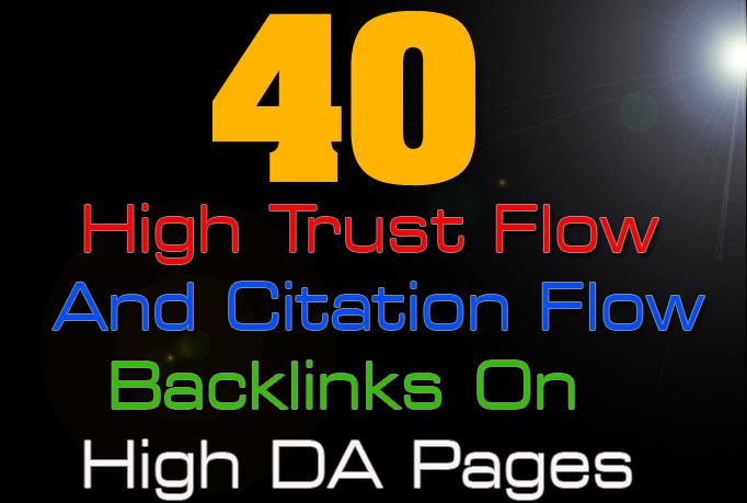 40 high trust flow and citation flow backlinks