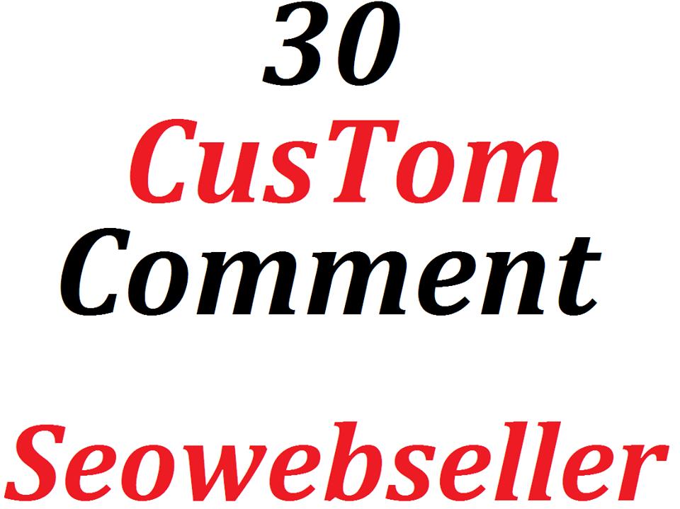 30+  custom comment + Bonus 30 likes Nondrop guaranteed 2-4 hours complete