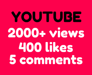 2000 Youtube views + 400 likes & 5 custom comments