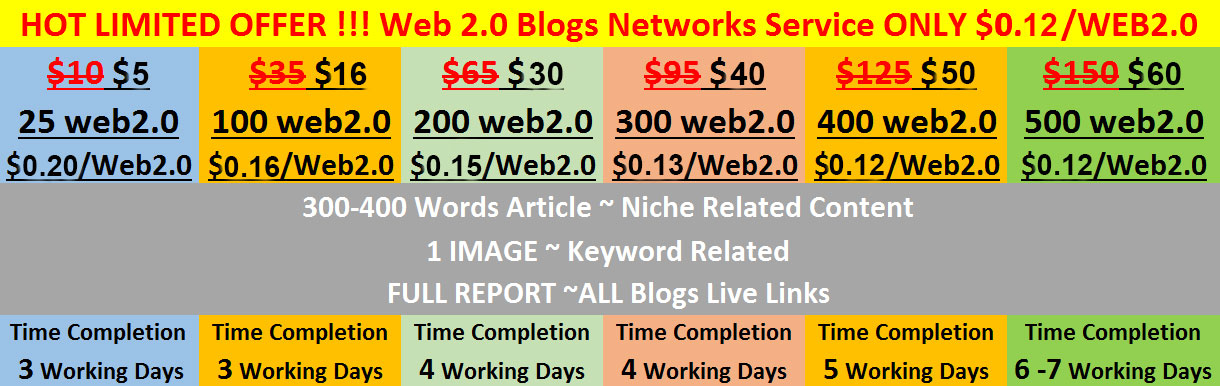 HOT LIMITED OFFER-2017 !!! Web 2.0 Blogs Networks Service ONLY $0.12/WEB2.0
