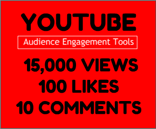 YouTube Audience Engagement Tools with 15000 views + 100 likes & 10 real custom comments