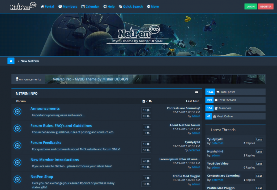 NetPen Pro Gaming - MyBB 1.8 Responsive
