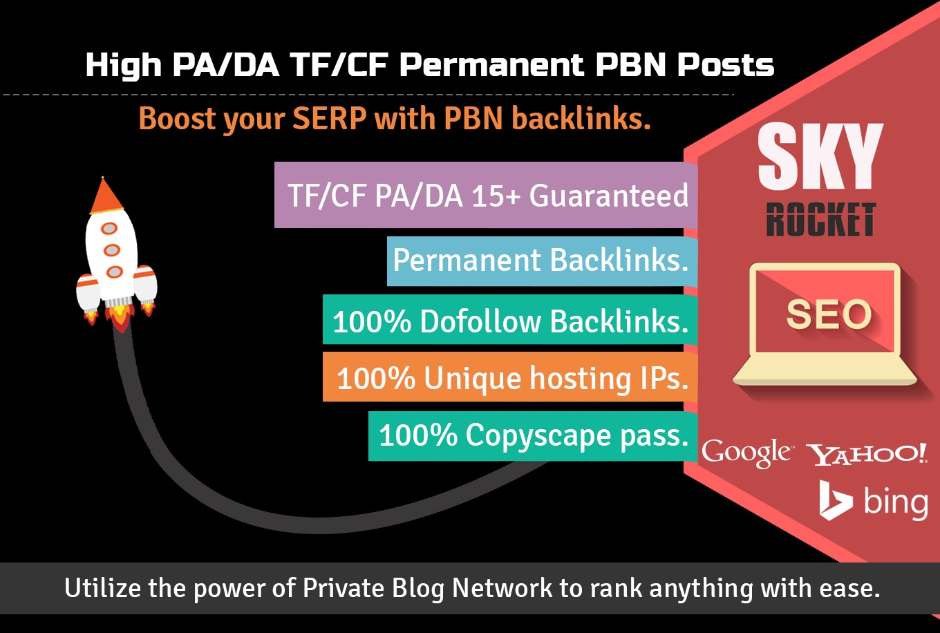 Create 15 High PA/DA TF/CF Homepage PBN Backlinks To Skyrocket you SERP