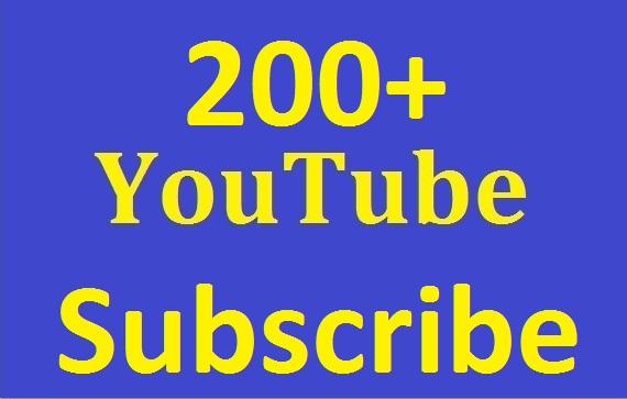 Safe 200+ youtube Subs'criber Real and non drop Guaranteed just
