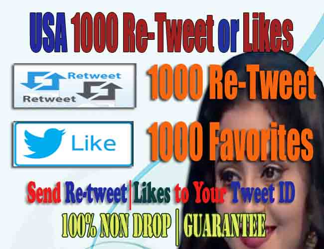 Non Drop USA 100 retweets or favorites to your tweet ID