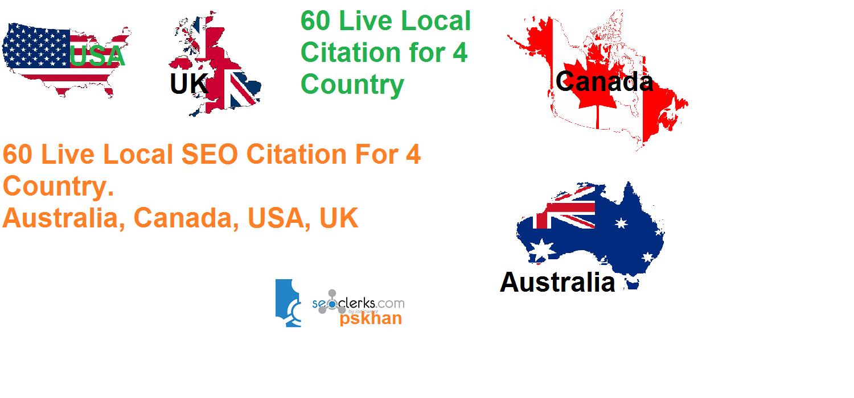 create 60 live Local Seo Citations For Canada or USA or UK or Australia