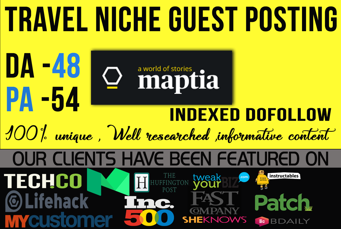 write & guest Blog from high authority travel sites Mapta com DA55 with dofollow backlink