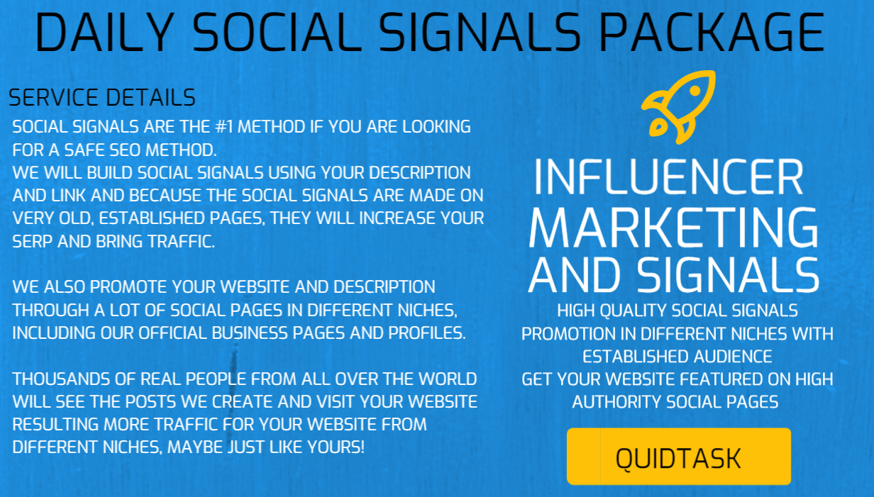 DAILY SOCIAL SIGNALS - SOCIAL MEDIA MARKETING - Rank Your Website with our Daily Package - Score HIGH SERP and get more ORGANIC TRAFFIC