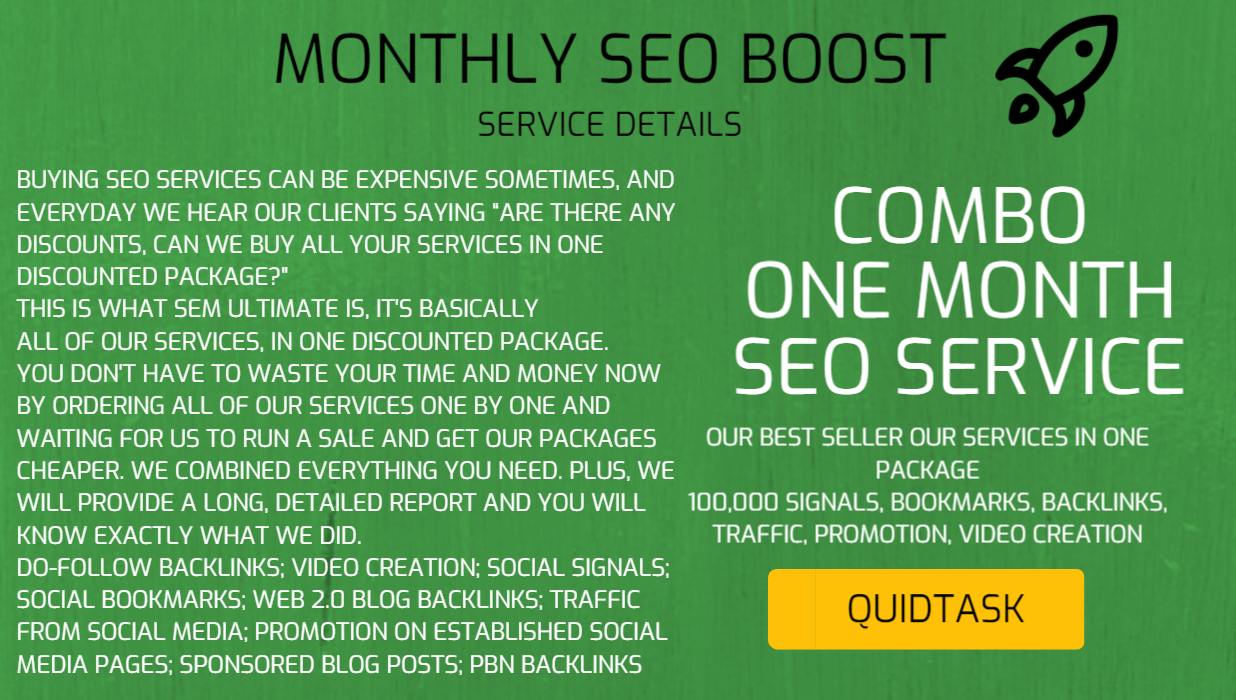 MONTHLY SEO BOOST - Best Sellers in One Package - Signals,  Bookmarks,  Backlinks,  Traffic,  Promotion,  Video Creation,  Views