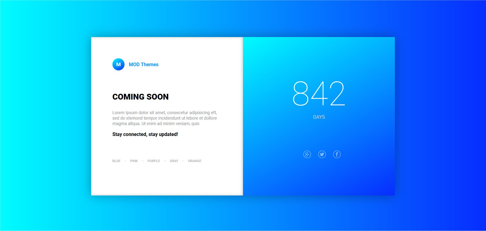 Coming Soon landing page with variations Theme