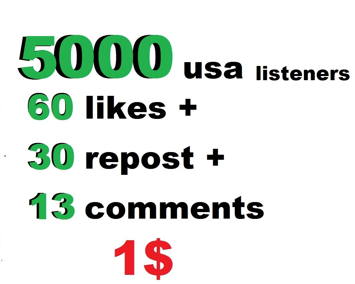 5000 music plays promotion with 60 likes 30 repost 10 comments