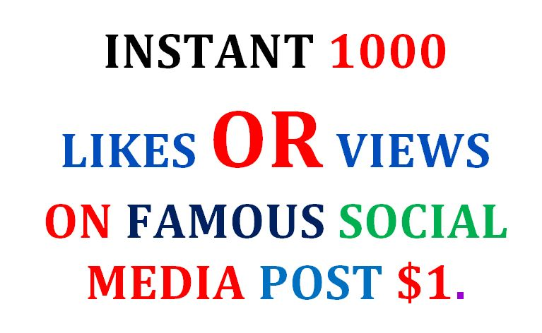 INSTANT 1000 LIKES OR VIEWS ON FAMOUS SOCIAL MEDIA POST