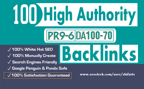 100 SEO Backlinks, From High Authority Domains
