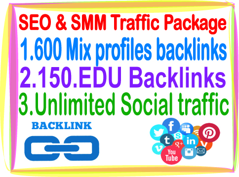 Most Popular SEO & SMM Package on Seocheckout- 600 Mix profiles Backlinks- 150 Edu Backlinks- Unlimited Social traffic