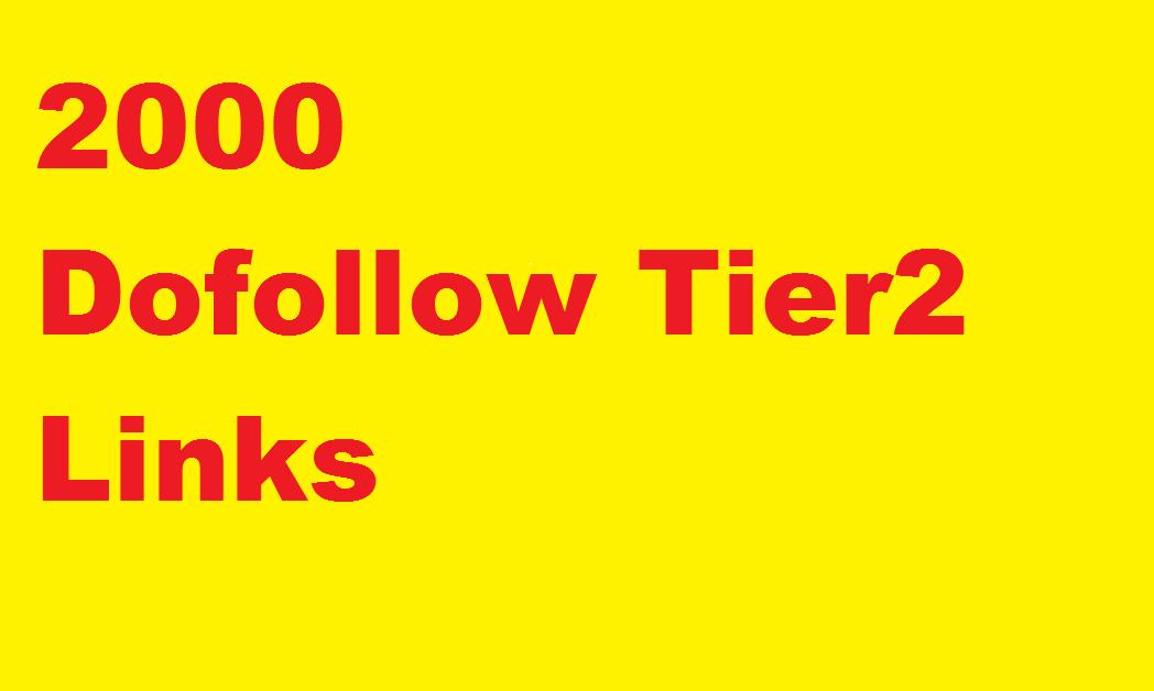 Tier 2 link building,  2000 DOFOLLOW tier 2 links
