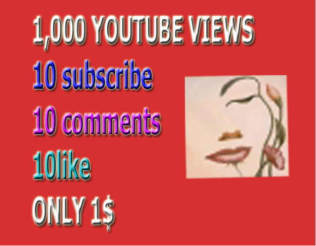 I provide 1000  youtube viwes+ 10 YouTube custom comment +10 like +10 Subscri. in your YouTube video increse video ratings