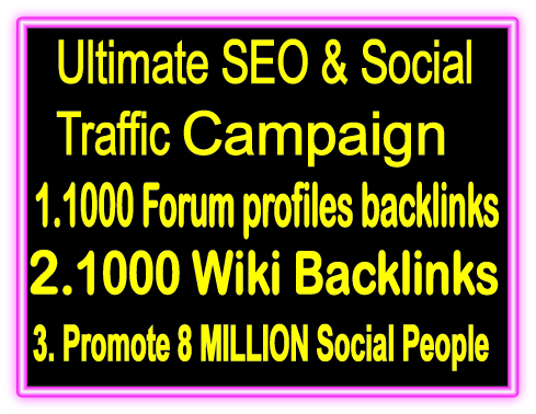 Top Popular SEO & SMM Package on Seocheckout- 1000 Forum Profiles Backlinks- 1000 Wiki Backlinks -Promote 8 Million Social People