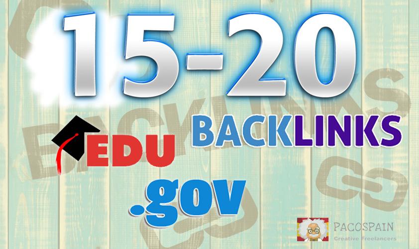 manually build 15-20 .edu-.gov backlinks (YouTube, Amazon, App. etc)