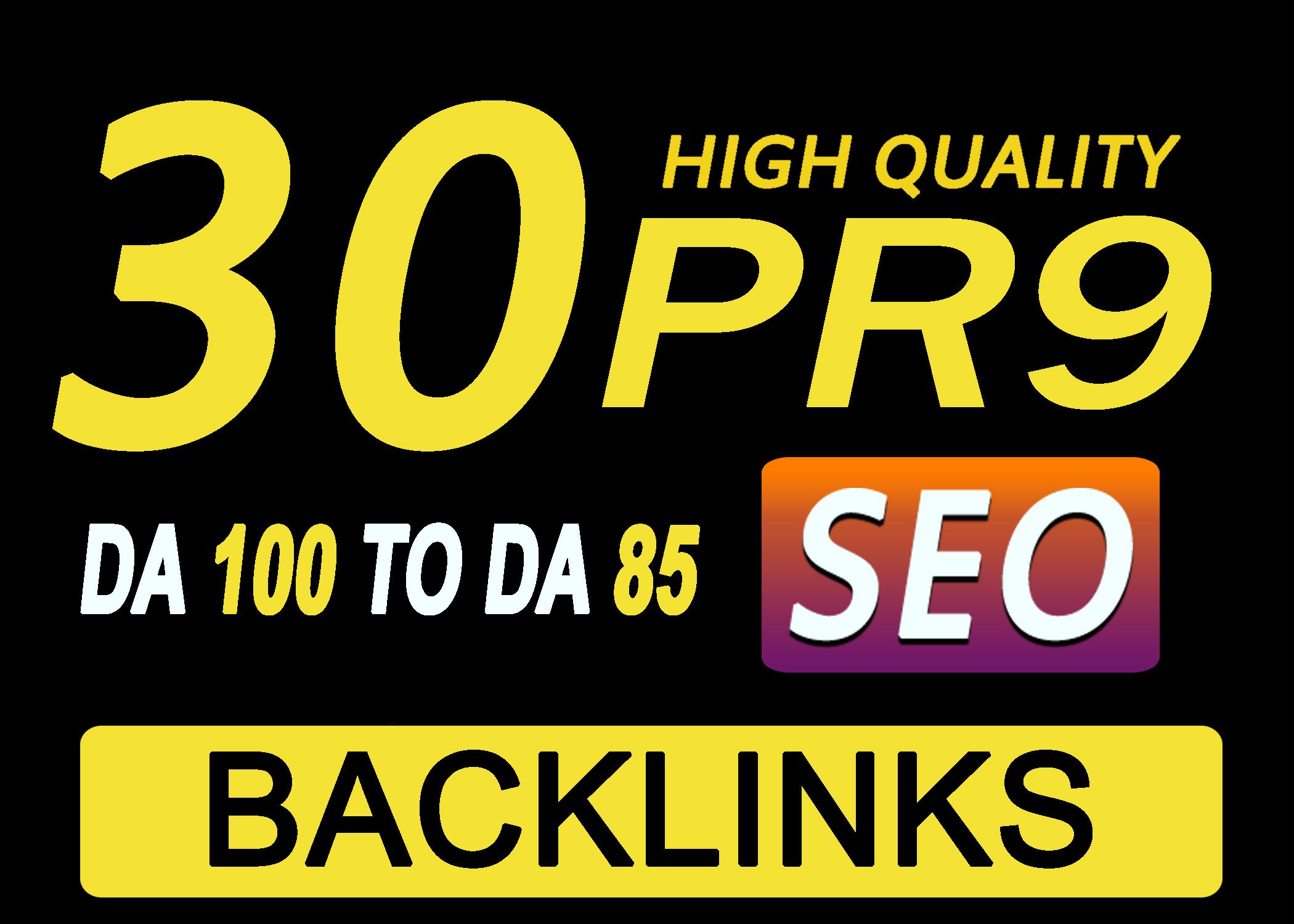 Manually Do 30 Pr9 DA 80+ Safe SEO High Authority Backlinks