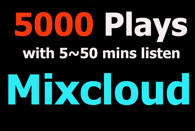 Add 5000 Plays Mixcloud with 6 mins to 50 mins each play