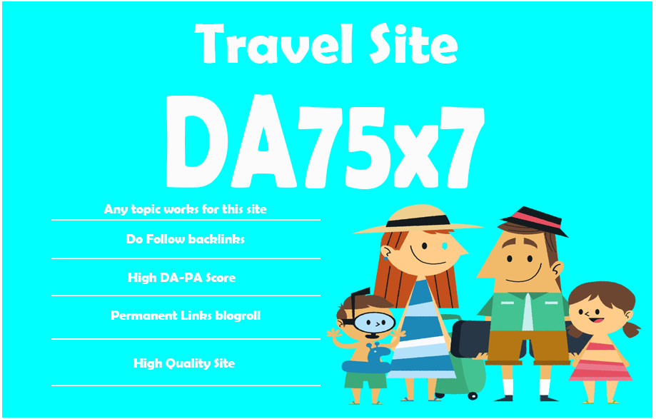 Give Link Da75x7 HQ Site Travel Blogroll Permanent