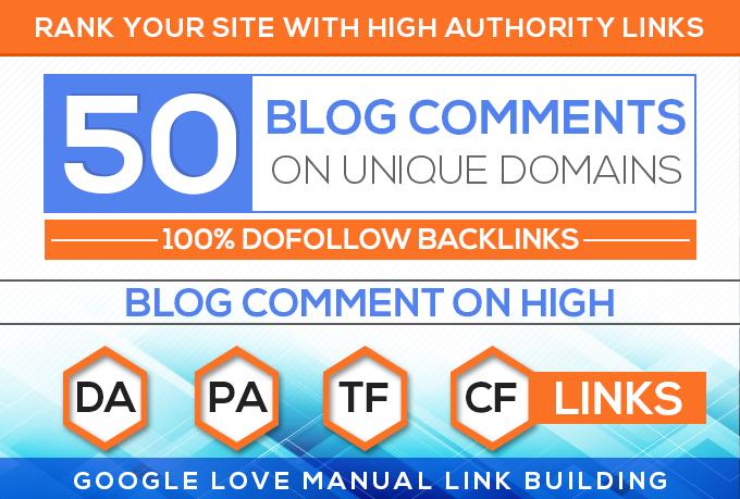 50 Unique Domains Manual Blog Comments backlinks