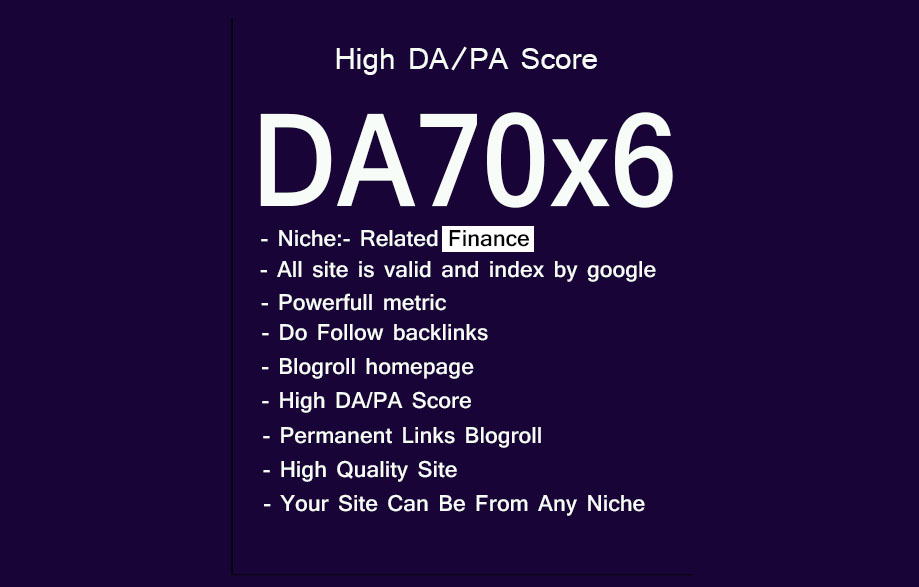 Give Link DA70x6 Finance Site Blogroll Permanent
