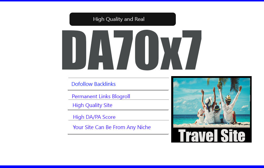 Give Your Backlink Da70x7 Travel Blogroll Dofollow