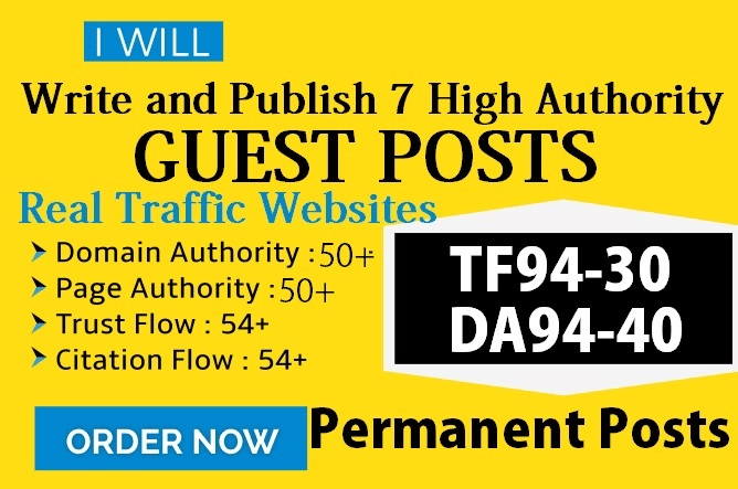Write And Publish Guest Posts On 7 DA40-DA90 HQ Authority Real Sites
