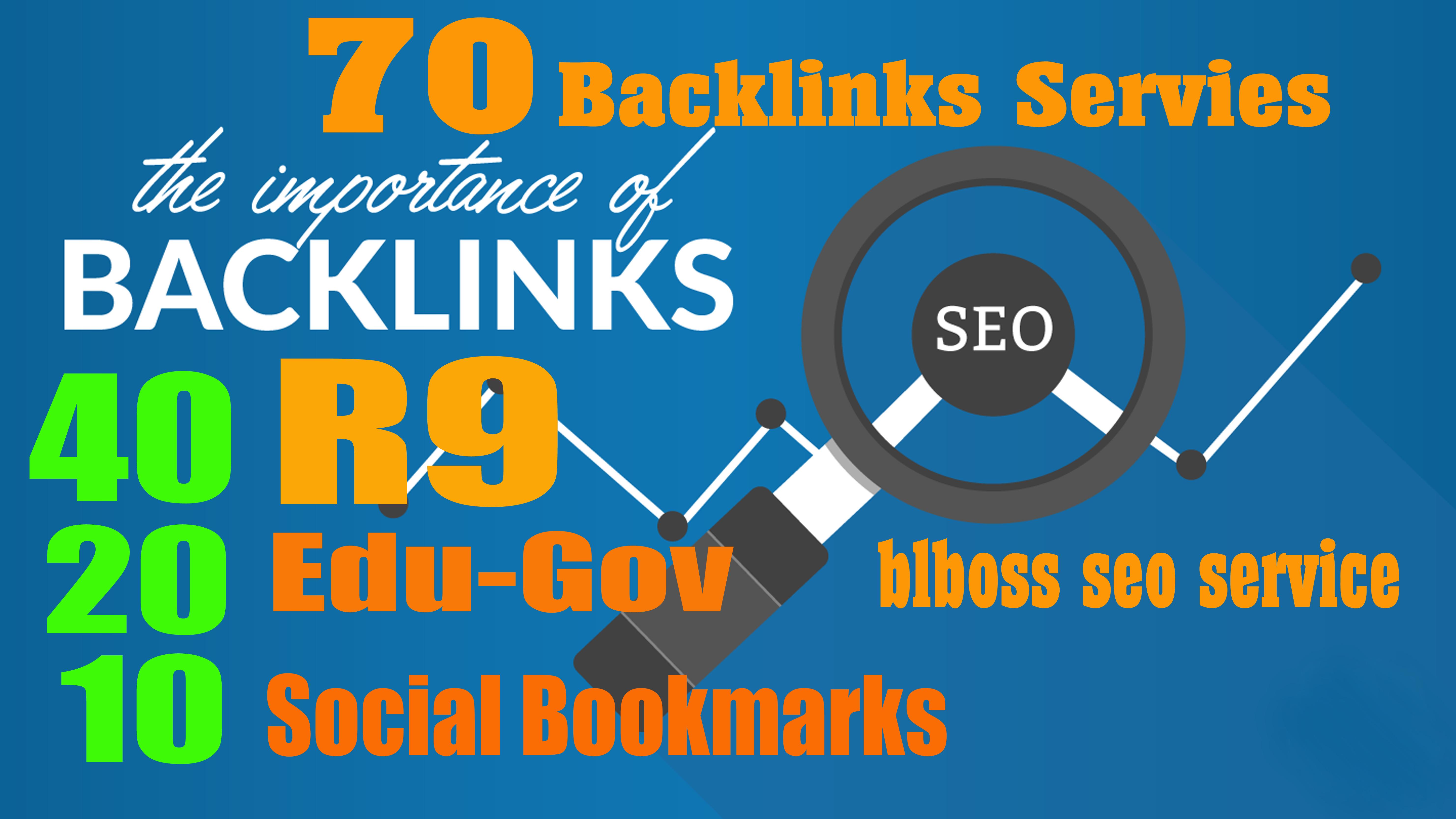 70 Backlinks from 40 PR9 + 20 EDU-GOV + 10 SOCIAL BOOKMARKS For Your Website or Blog or YouTube