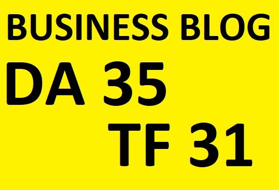 do guest post in DA 35 TF 31 Business blog