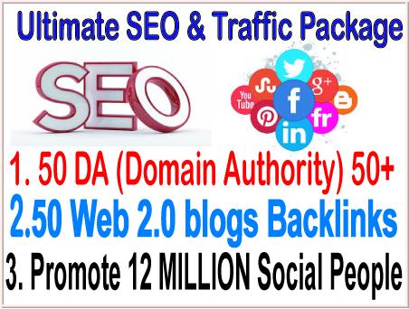 Google Safe SEO & SMM campaign- 50 PR9 DA Domain Authority Backlinks - 20 Web 2.0 blogs Backlinks-Promotion 12 Million Social people