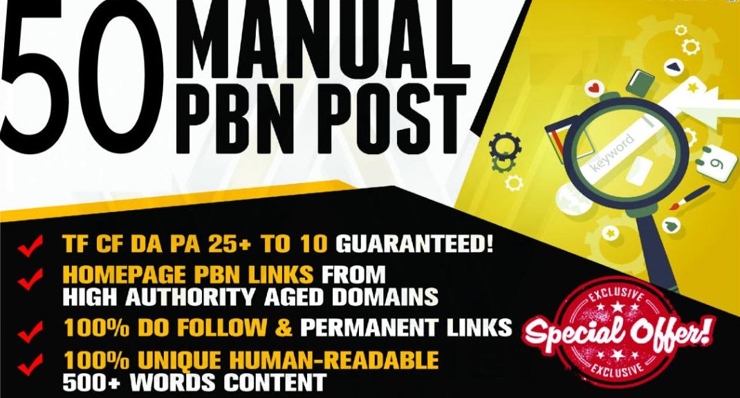 Build Manual 50 High PA/DA TF/CF 25 to 10 Homepage Dofollow PBN Backlinks To Skyrocket you SERP
