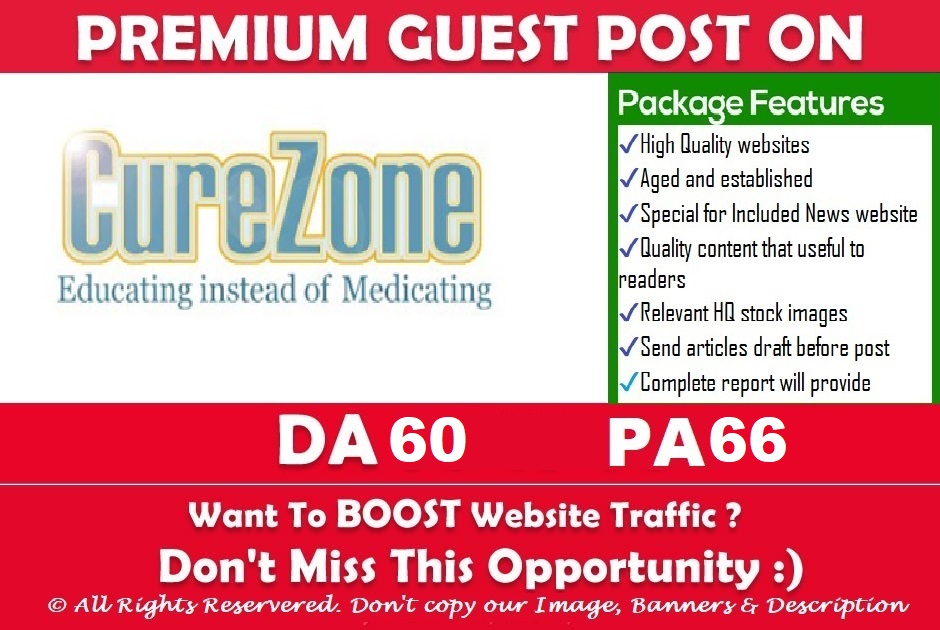 "Publish Health Niche Guest Post on ""Curezone"" DA-60"