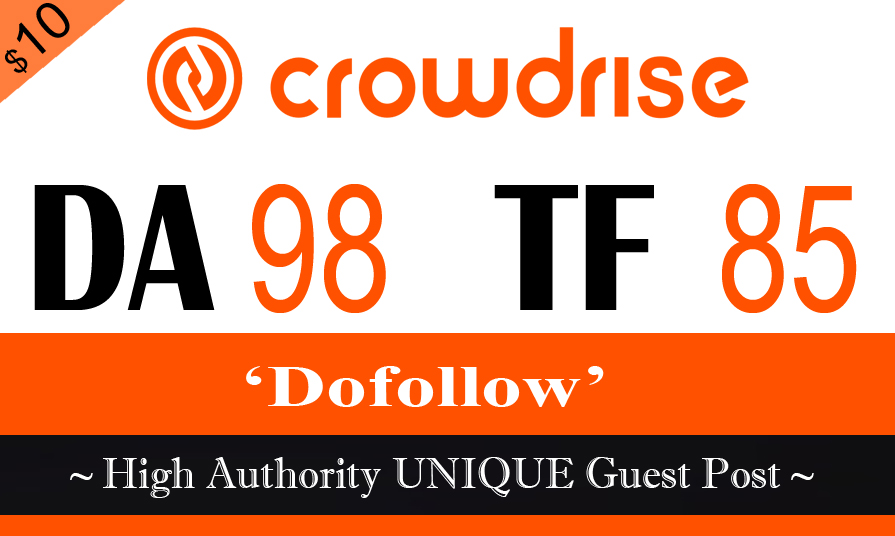 "Write & Publish A Guest Post On ""Crowdrise"" DA-87"