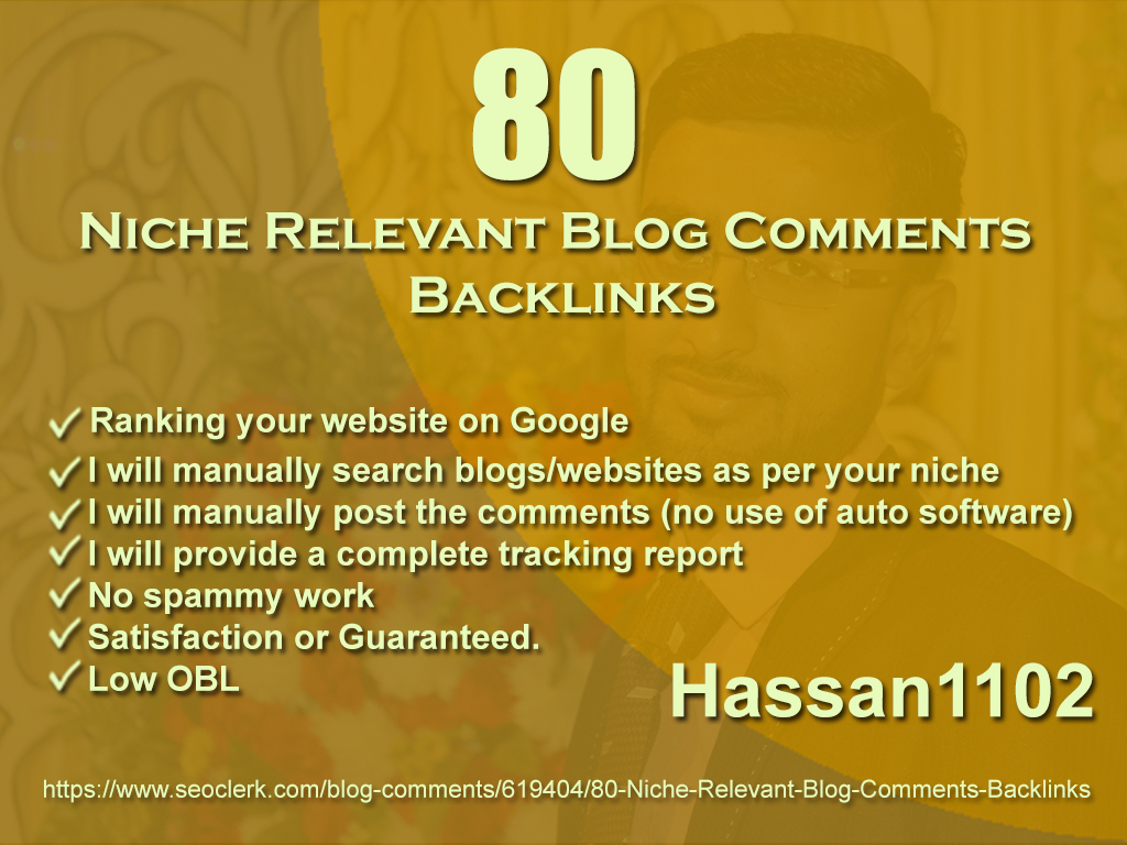 80 Niche Relevant Blog Comments Backlinks