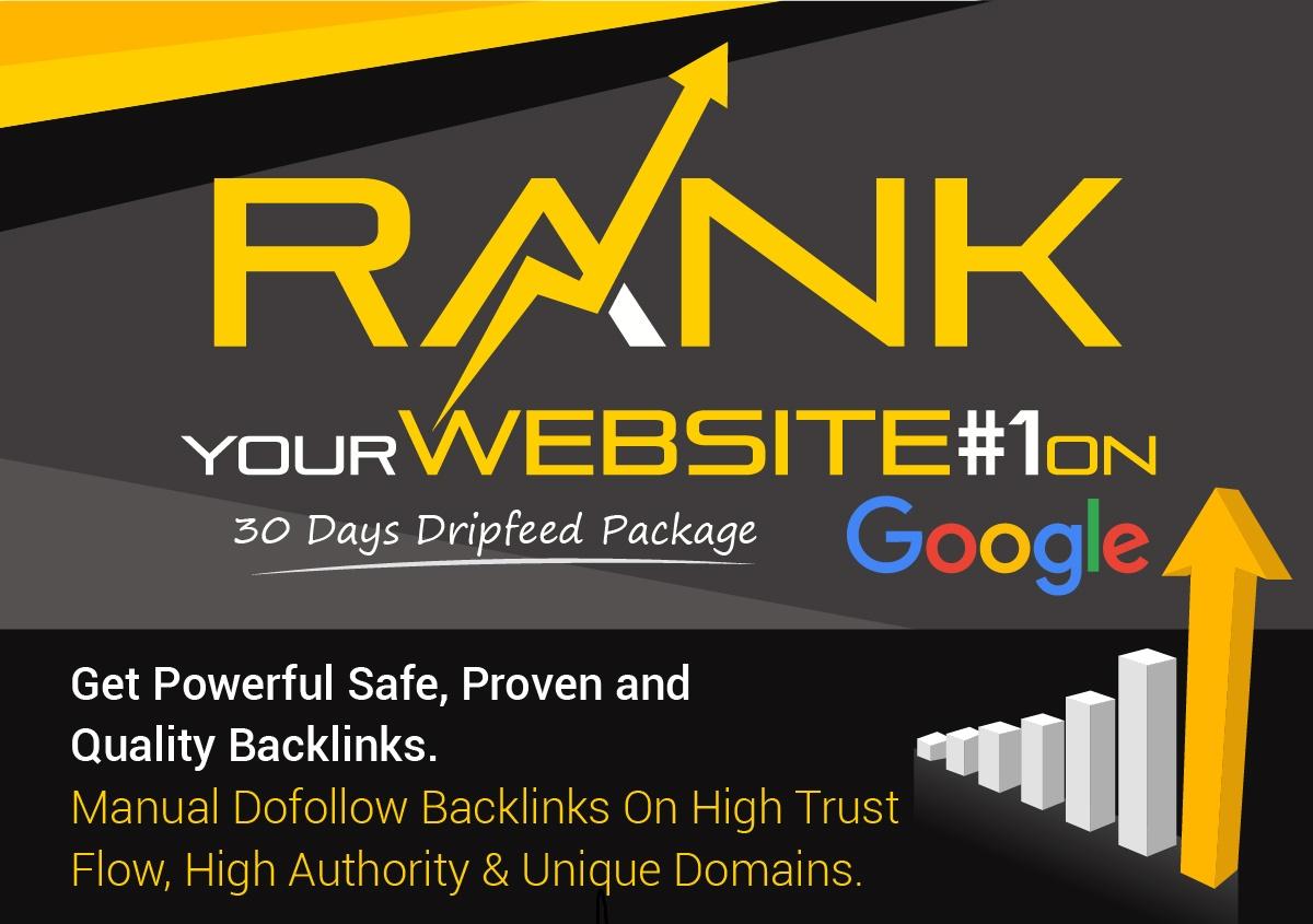 """""""I Will """" Rank Your Website On Google, 30 Days SEO Backlinks Manually"""