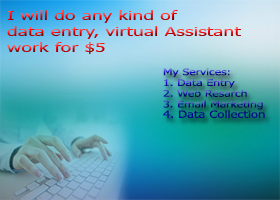 do data entry,excel and any kind of virtual assistant work