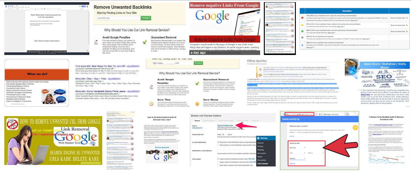 Negative link removal from first 10 pages minimum of Google search engine